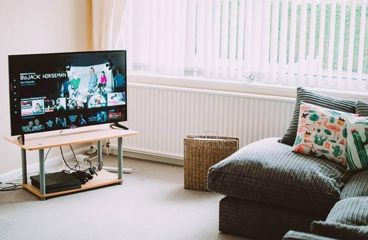 lcd televizor i sofa u dnevnoj sobi
